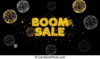doré, boom, firework., révéler, texte, scintillement, vente, particules