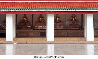 doré, bouddha, statues