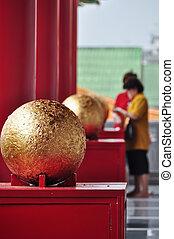 doré, bouddhiste, balle, temple