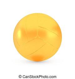 doré, brillant, récompense, balle, volley-ball, concept, métallique, réaliste