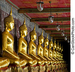 doré, buddhas, dans, wat, sutat, bangkok