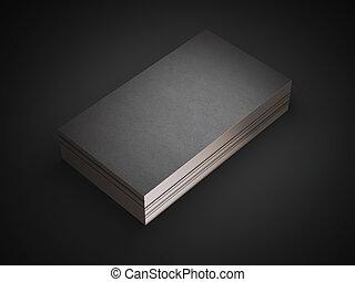 doré, business, bords, noir, cartes, pile