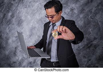 doré, business, ordinateur portable, bitcoin, informatique, tenue, homme