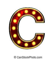 doré, c, isolé, illustration, lumières, white., lettre, 3d