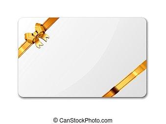 doré, cadeau, clair, bande, luxe, gabarit, vide, blanc, carte