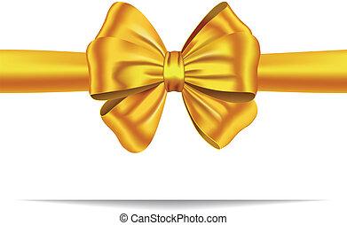 doré, cadeau, ruban, arc