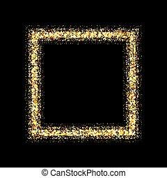 doré, cadre, arrière-plan noir