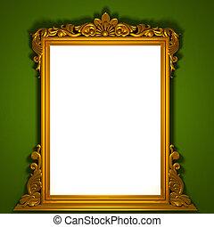 doré, cadre, classique