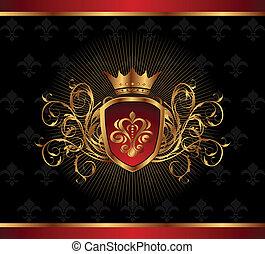 doré, cadre, couronne, orné