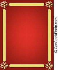 doré, cadre, ornement, arrière-plan rouge