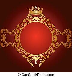 doré, cadre, royal