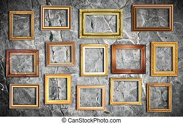 doré, cadre, sur, vieux, mur
