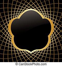 doré, cadre, vecteur, arrière-plan noir