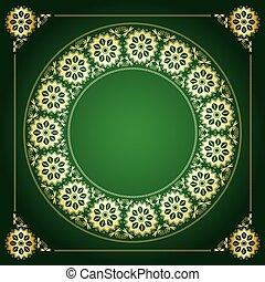 doré, cadre, -, vecteur, arrière-plan vert, floral