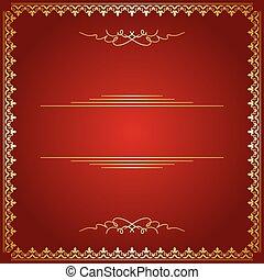 doré, cadre, -, vecteur, fond, rouges