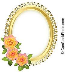 doré, cadre, -, vecteur, ovale, fleurs