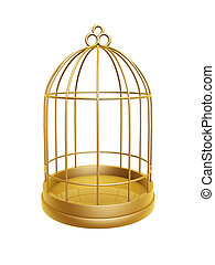 doré, cage d'oiseaux