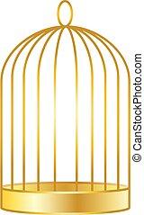 doré, cage d'oiseaux, vecteur