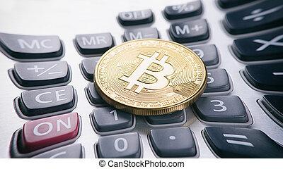 doré, calculatrice, bitcoin