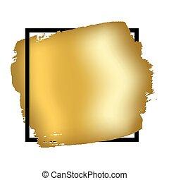doré, carrée, or, cadre, invitation, coup, conception mode,...
