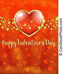 doré, carte or, valentines, -, valentin, coeur, arrière-plan rouge, jour, carte