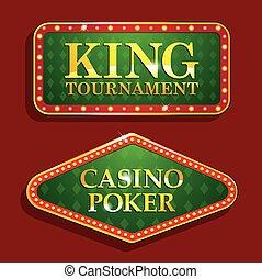 doré, casino, isolé, fond, bannières, rouges