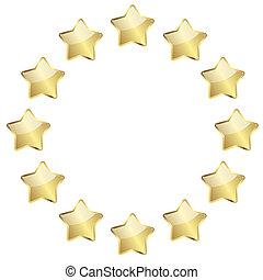 doré, cercle, étoiles