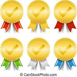 doré, chèque, médailles, marque