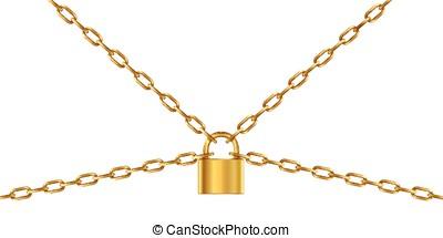 doré, chaîne, cadenas
