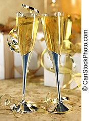 doré, champagne, célébration