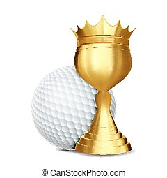 doré, championnat, golf, cup., annonce, ligue, balle, jeu, illustration, récompense, vector., advertising., announcement., sport, bannière, événement, concurrence, design.