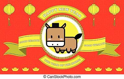 doré, cheval, bon, mot, vie, arrière-plan rouge, année, nouveau, ruban, heureux