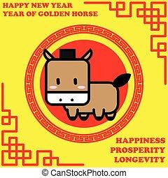 doré, cheval, bon, mot, vie, fond, année, nouveau, heureux