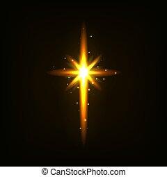 doré, clair, croix, lumière