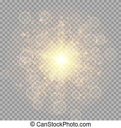 doré, clair, flash, étoile