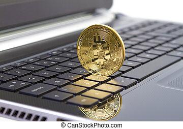 doré, clavier portable, bitcoin, monnaie, numérique