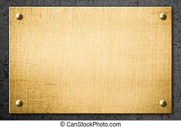 doré, cliché métal, ou, enseigne, sur, mur, fond