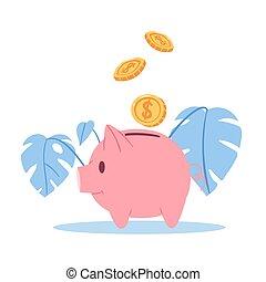 doré, cochon, feuilles, banque, dollars, boîte, argent, vecteur, illustration., monstera, bleu, porcin, heureux, économie, white., pièces, idée, isolé