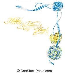 doré, coeur, copyspace, bouquet, texte, cadre, valentineçs...