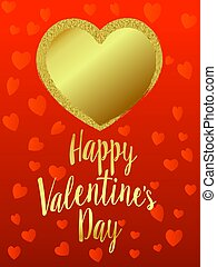 doré, coeur, saint-valentin, arrière-plan rouge, carte, heureux
