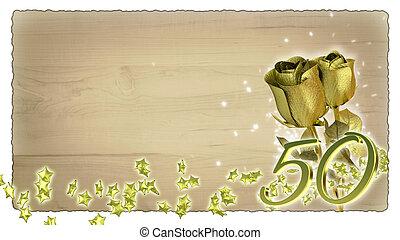 doré, concept, étoile, particules, roses, anniversaire