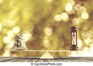 doré, concept, balances, argent, dollar, sac, table, sablier, arrière-plan., bokeh, bois, :, argent., équilibre, mettre, changement, renverser, espèces, nous, temps, ou, sac