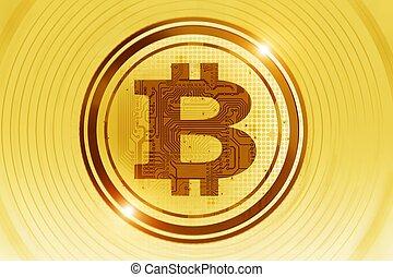 doré, concept, bitcoin