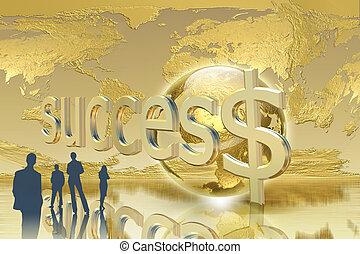 doré, concept, business, -, fond, équipe