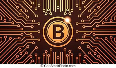 doré, concept, circuit, toile, argent, bitcoin, monnaie, fond, numérique