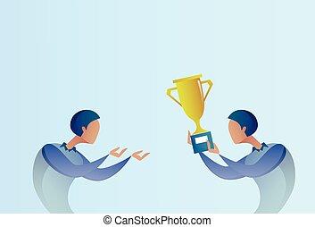 doré, concept, prix, business, tasse, donner, résumé, gagnant, reussite, homme