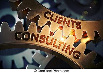 doré, consultant, illustration., clients, gears., 3d