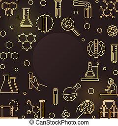doré, contour, cadre, -, chimique, vecteur, fond, chimie