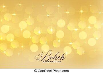 doré, couleur allume, bokeh, étoiles, agréable
