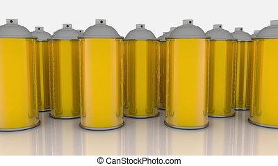 doré, couleur, boîtes, pulvérisation